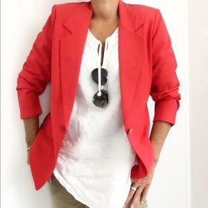 Vintage Strawberry Red Lightweight Blazer Jacket